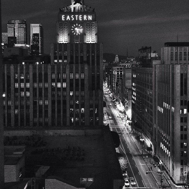 So the view from the rooftop bar at @acehotel LA is not going to suck at all. #friendsinhighplaces